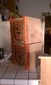 The stout, protected by pizza boxes.